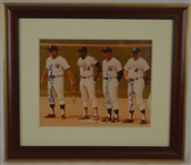 Joe DiMaggio Willie Mays Mickey Mantle & Duke Snider Autographed photo