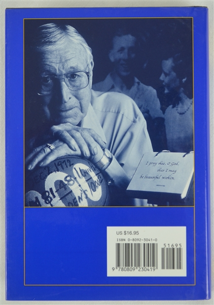 "John Wooden Autographed ""Wooden"" Hardcover Book"