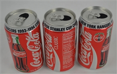 Collection of 3 NY Rangers 1993-94 Commemorative Coke Cans