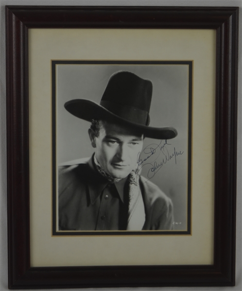 John Wayne Autographed & Inscribed Framed Photo w/Full JSA LOA