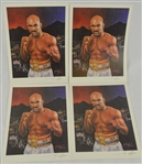 Evander Holyfield Lot of 4 Lithographs Signed by Artist Angelo Marino