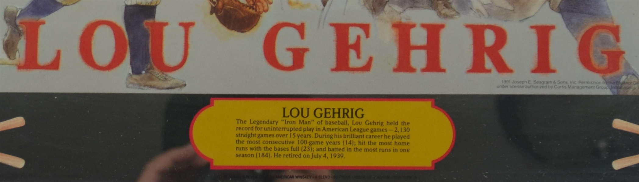 Lou Gehrig Seagram's Mirror Display