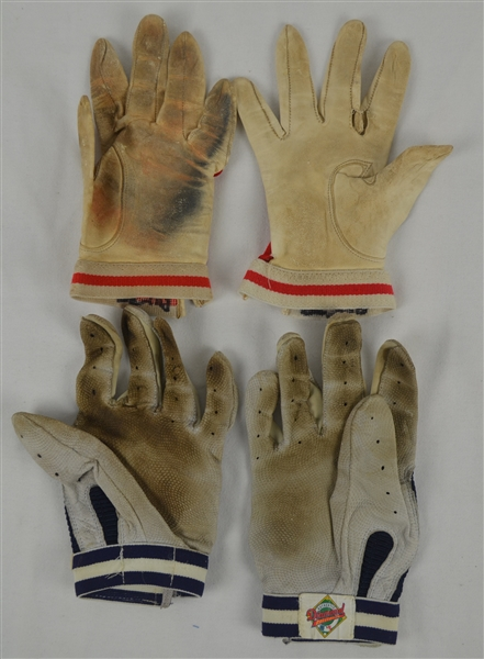 Lot of 2 Pairs of Professional Model Batting Gloves w/Heavy Use