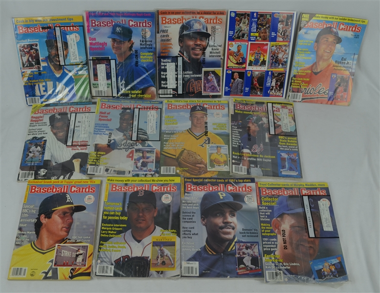 Collection of 12 Issues of 1991 Baseball Card Magazines