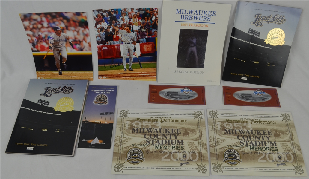 Paul Molitor Lot of 2 Autographed Photos & 1988 Brewers Yearbook
