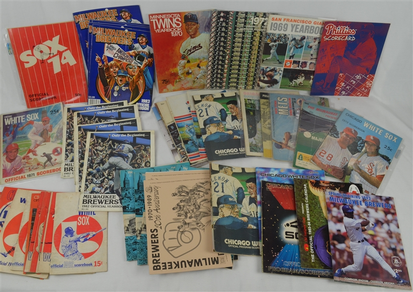 Vintage Collection of 1960's-1990's Baseball Yearbooks Scorecards & Programs