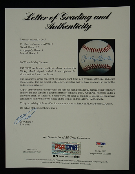 Mickey Mantle Autographed Baseball PSA/DNA 9 Mint Signature