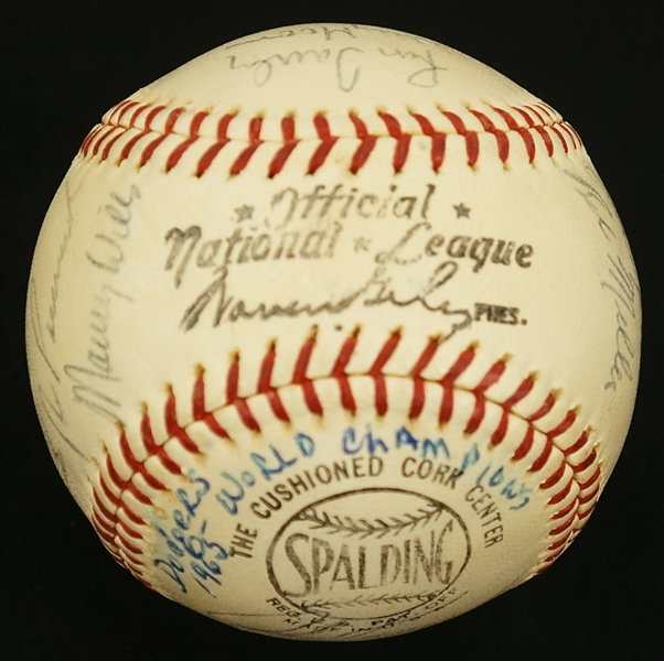 Los Angeles Dodgers 1965 Team Signed Baseball w/25 Signatures Inc. Alston, Koufax & Drysdale JSA LOA