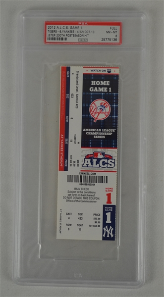 Derek Jeter 200th Post Season Hit Game 1 of 2011 ALCS Ticket PSA 8