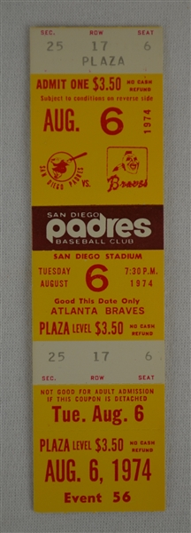 Hank Aaron Final Multi Home Run Game Ticket