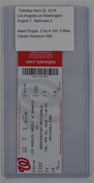 Albert Pujols Lot of 2 500th Home Run Game Tickets