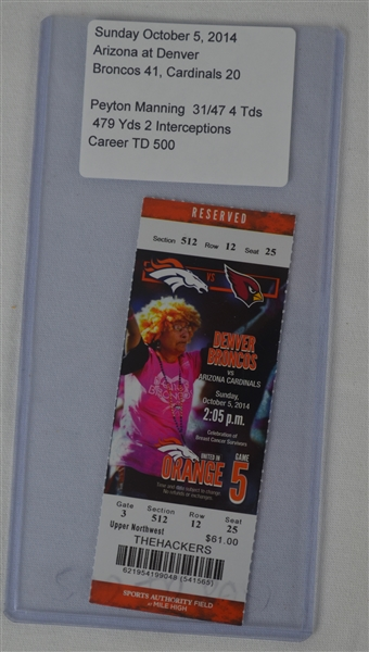 Peyton Manning 500th Career Touchdown Game Ticket
