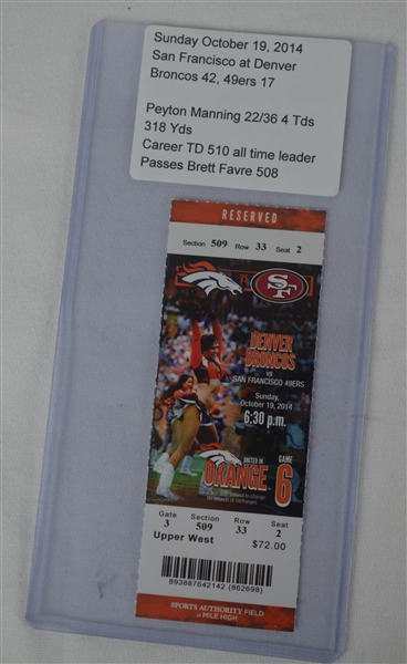 Peyton Manning 510th Career Touchdown Game Ticket Passing Favre