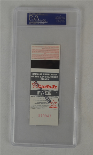 Barry Bonds 600th Home Run Ticket PSA 10 Gem Mint