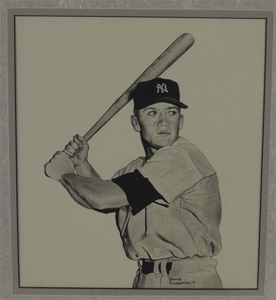 Mickey Mantle 1951 Rookie 10x10 Original James Fiorentino Watercolor Painting