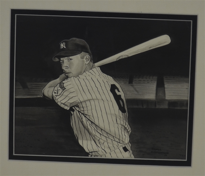Mickey Mantle 1951 Rookie #6 Original 7x8 James Fiorentino Watercolor Painting