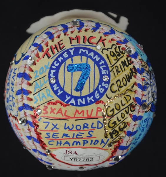 Joe DiMaggio & Mickey Mantle Autographed Charles Fazzino Unique Hand Painted Baseball JSA & Fazzino LOA