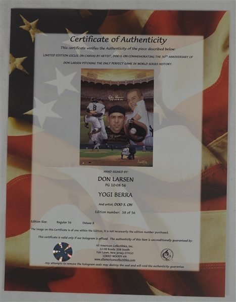 Yogi Berra & Don Larsen 1956 Perfect Game Autographed & Inscribed Lithograph