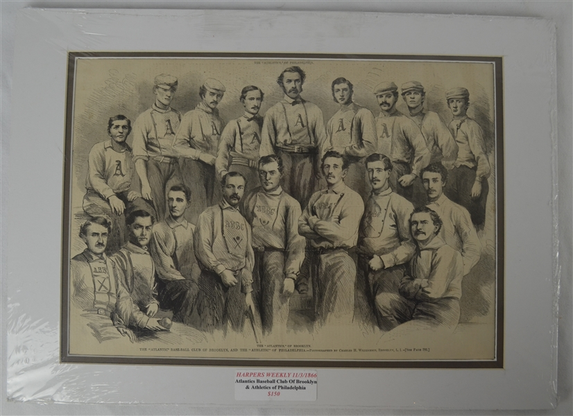 Harper's Weekly 11/3/1866 Atlantics & Athletics Baseball Clubs Photo