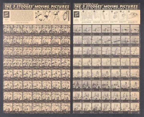 RARE 1937 Three Stooges Pillsbury Farina Die Cut Moving Picture Machines