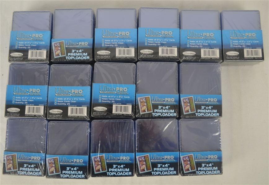 Collection of 16 Boxes of Collectible Card Top Loaders