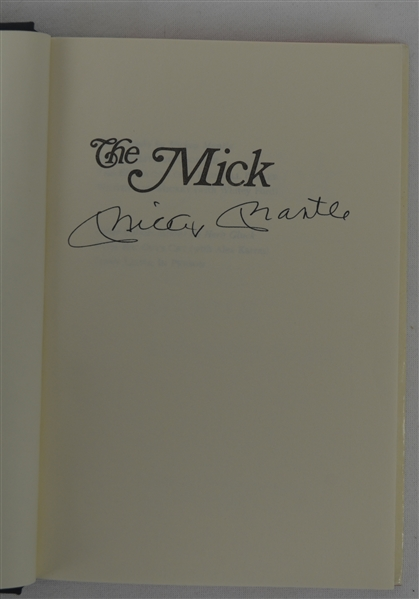 Mickey Mantle Signed Hard Cover Copy of The Mick Book