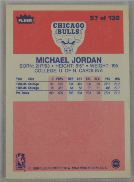 Michael Jordan 1986-87 Fleer Rookie Card