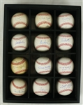 Attractive Collection of 12 Autographed 300 Win Baseballs w/Display