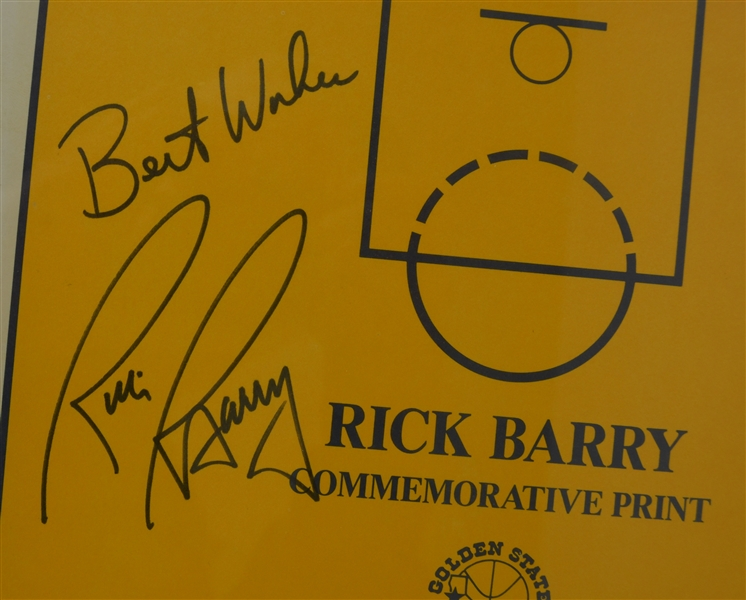 Rick Barry Autographed & Framed Display