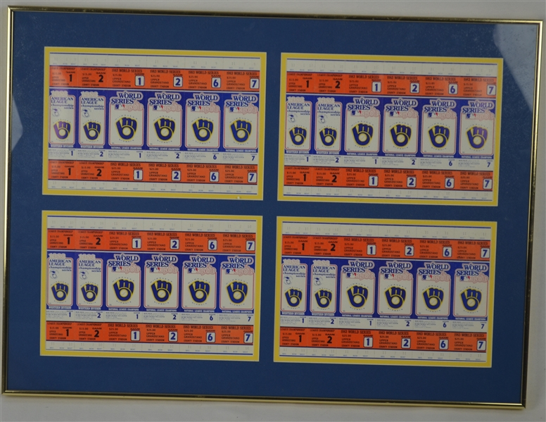 Milwaukee Brewers Phantom 1983 ALCS & World Series Uncut Ticket Sheet Display