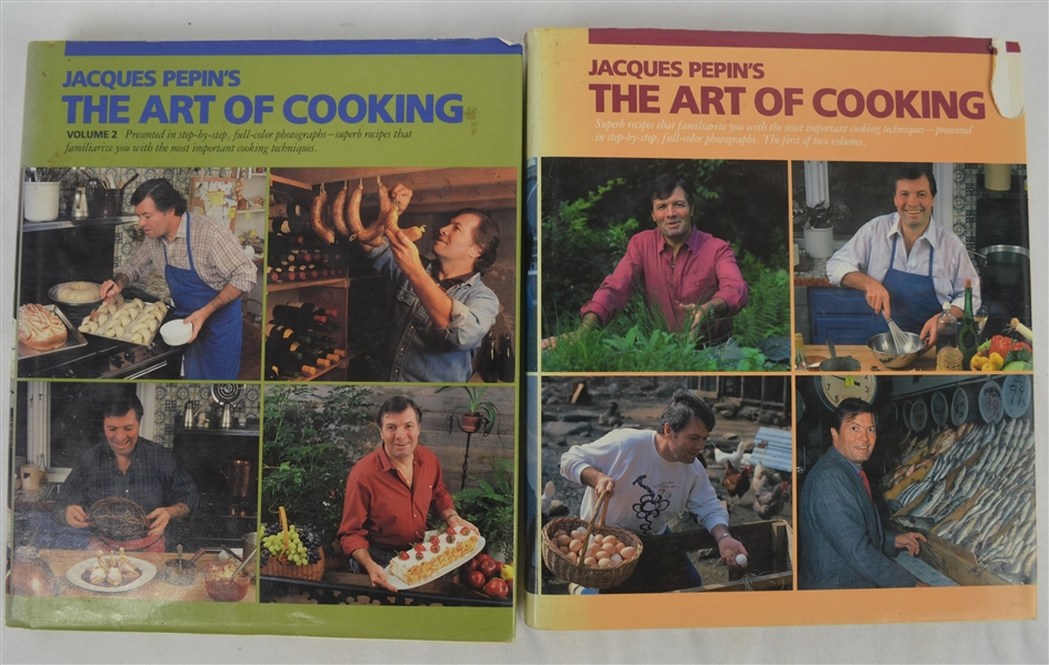 Vintage 1987 Jacques Pepin's Autographed The Art of Cooking Book Volumes I & II
