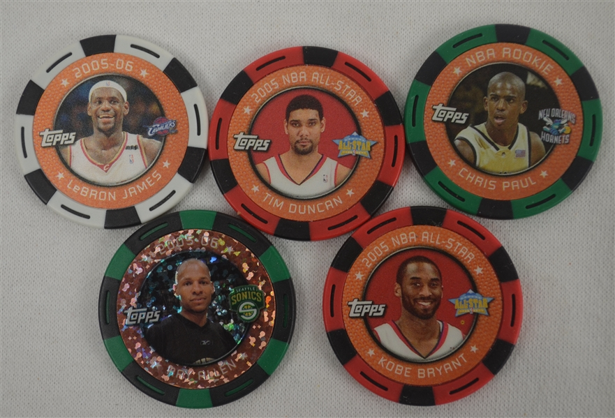 Collection of 5 NBA Poker Chip Cards w/LeBron James