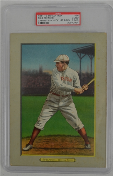 Tris Speaker 1911 T3 Turkey Red Card #36 PSA 2 Good