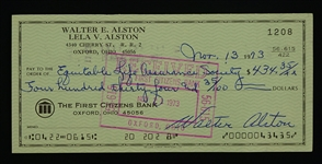 Walt Alston Signed Check Dated November 1973 w/Family LOA