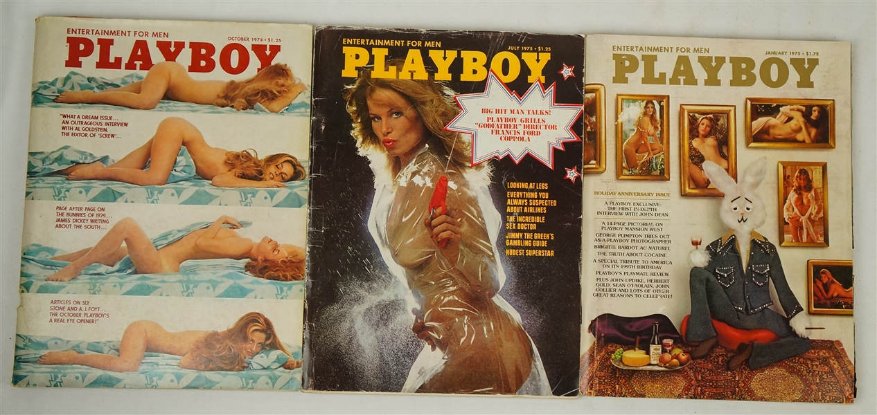 Collection of 10 Vintage 1970's Playboy Magazines