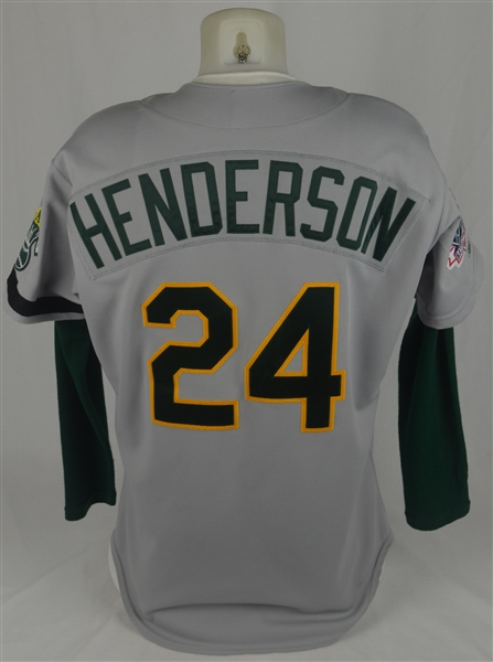 Rickey Henderson 1989 World Series Oakland A's Game Used Jersey w/Dave Miedema LOA