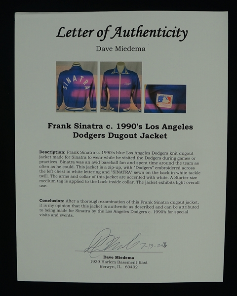 Frank Sinatra c. 1990's Los Angeles Dodgers Dugout Jacket w/Dave Miedema LOA