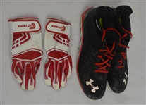 Raul Ibanez Game Used & Autographed  Cleats & Batting Gloves