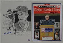 Johnny Pesky Autographed 2006 Old Time Baseball Game Program & 8x10 Ink Sketch Lithograph