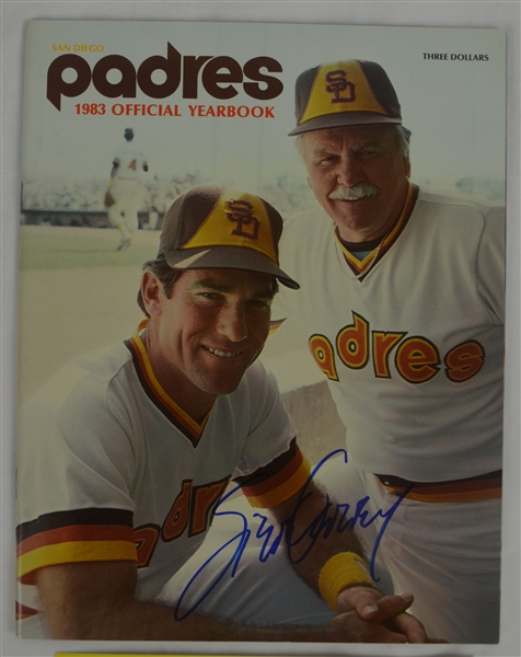 Steve Garvey Lot of 2 Autographed 1983 San Diego Padres Yearbook & Uncut 1984 Trading Card Sheet