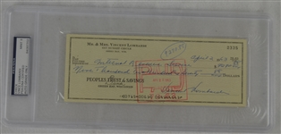 Vince Lombardi Signed Personal Check #2335 PSA/DNA 9 Mint
