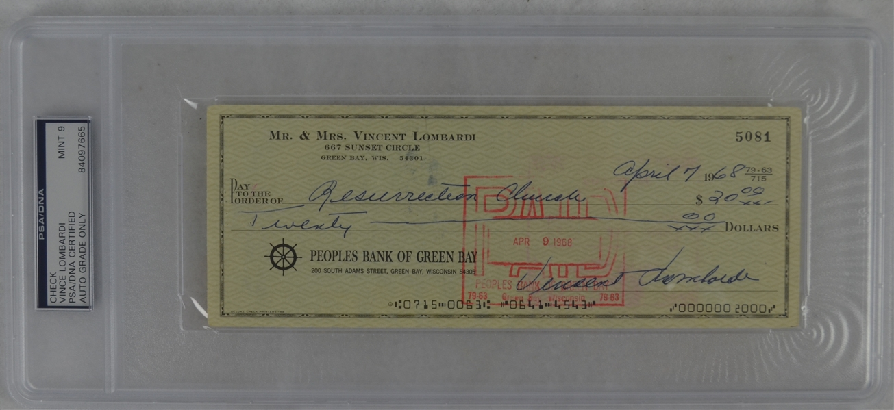 Vince Lombardi Signed Personal Check #5081 PSA/DNA 9 Mint