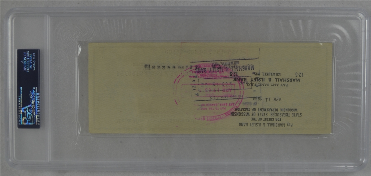 Vince Lombardi Signed Personal Check #2338 PSA/DNA 9 Mint