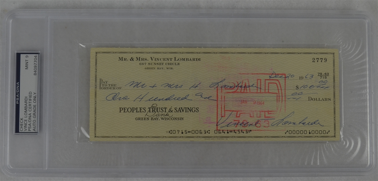 Vince Lombardi Signed Personal Check #2779 PSA/DNA 9 Mint