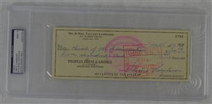 Vince Lombardi Signed Personal Check #2786 PSA/DNA 9 Mint