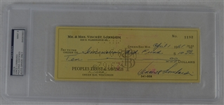 Vince Lombardi Signed Personal Check #1192 PSA/DNA 9 Mint