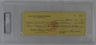 Vince Lombardi Signed Personal Check #1163 PSA/DNA 9 Mint