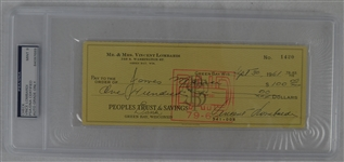 Vince Lombardi Signed Personal Check #1420 PSA/DNA 9 Mint