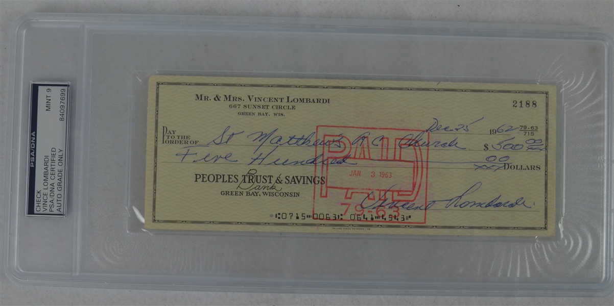 Vince Lombardi Signed Personal Check #2188 PSA/DNA 9 Mint