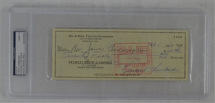 Vince Lombardi Signed Personal Check #1633 PSA/DNA 9 Mint